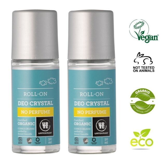 URTEKRAM ORGANIC CRYSTAL UNSCENTED DEO 2x50ml - ECOCERT, VEGAN, NO ANIMAL CRUELT