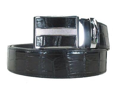 "PELGIO Genuine Crocodile Belly Skin Leather Luxury Waist Belt 40/"" Grey Auto Lock"
