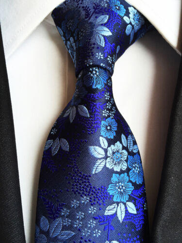 179KT luxury mens 100/% silk neck tie navy blue flowers wedding party prom ties