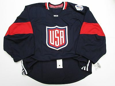 USA AUTHENTIC NAVY WORLD CUP OF HOCKEY TEAM ISSUED ADIDAS JERSEY GOALIE CUT 58 | eBay