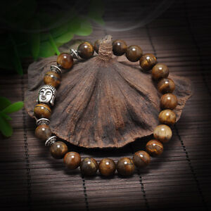 Men-Women-Lava-Rock-Bracelet-brown-Natural-Gemstone-Beads-Buddha-Head-Beaded