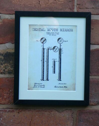 USA Patent Drawing DENTIST DENTAL MOUTH MIRROR tool MOUNTED PRINT 1892 Gift
