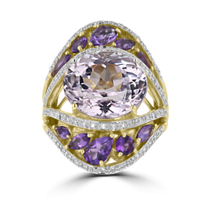 14KT YELLOW gold KUNZITE, DIAMOND, AND AMETHYST FASHION RING