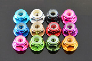 M5-5mm-Aluminum-Flanged-Nylon-Lock-Nut-X-10-Green-Blue-Red-Gold-Pink-purple