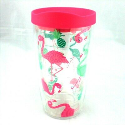 b089bcd1832 Details about Pink Flamingo Pineapple Tervis Tumbler 16 oz NEW Green  Tropical Pattern w Lid