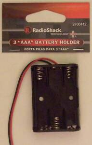 RadioShack 3 AAA Cell Battery Holder with Wire Leads