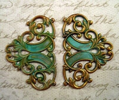 Verdigris Patina Brass Connector Stampings (2) - VPSG6824