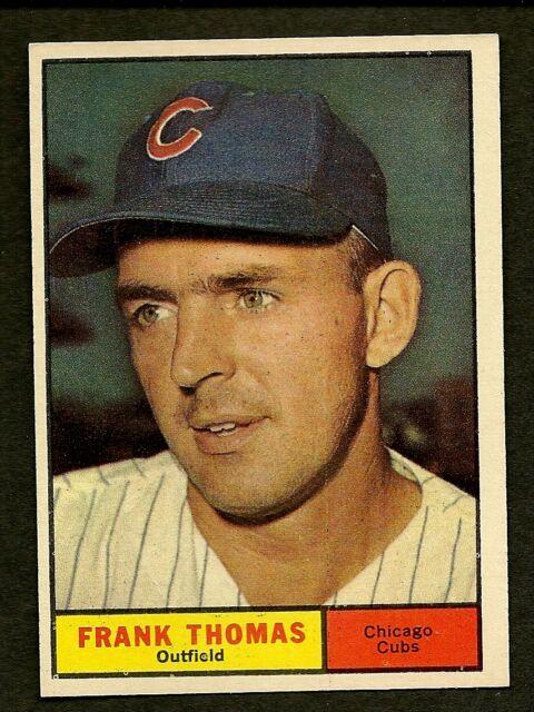 1961 Topps FRANK THOMAS  #382 Chicago Cubs CREASE FREE BK $8 EM SET BREAK