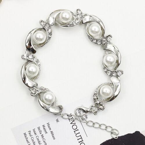 Damen Armbänder Perlen Armband Kristall Strass Armreif Freundschaftsarmbänder