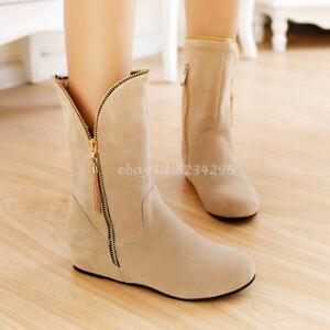 Wadenhohe-Stiefel-Damen-Ankle-Boots-Niedrig-Absatz-Schuhe-Mittelhohe-Stiefelette