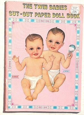 Vintage 1983 The Twin Babies Cut Out paper Doll Book (Annie & Jimmy) Merrimack