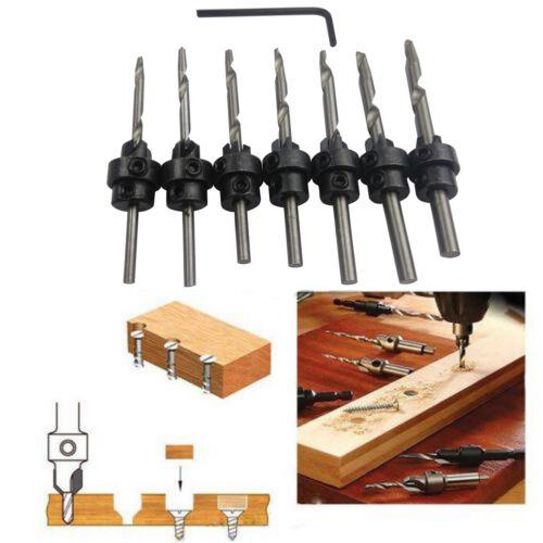 22PC Tapered Drill /& Countersink Bit Screw Set Wood Pilot Hole For Wood 7PCS//Set