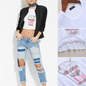 Summer Harajuku Women T Shirt Ice Cream Korean Style Loose Crop Tee