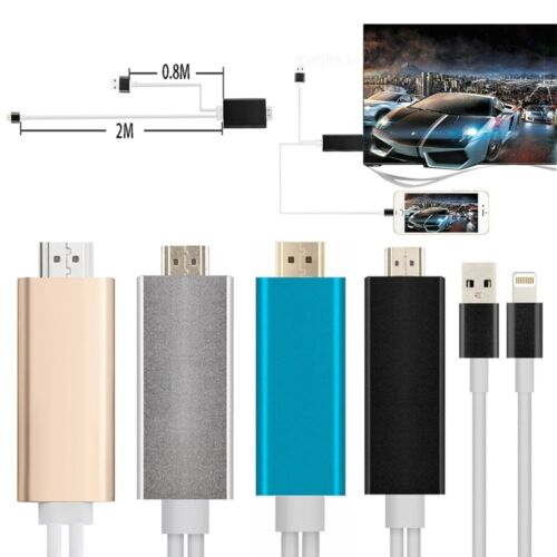 2M AirPlay 8Pin Lightning to HDMI //HDTV Cable Adapter For iPhone6 6S 5//iPad SE