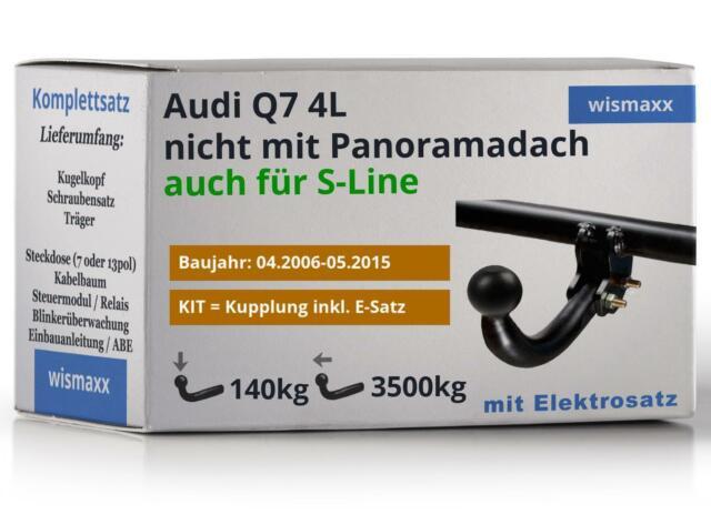 ANHÄNGERKUPPLUNG starr passend für Audi Q7 4L 06-15 AHK +13-polig E-Satz ABE NEU