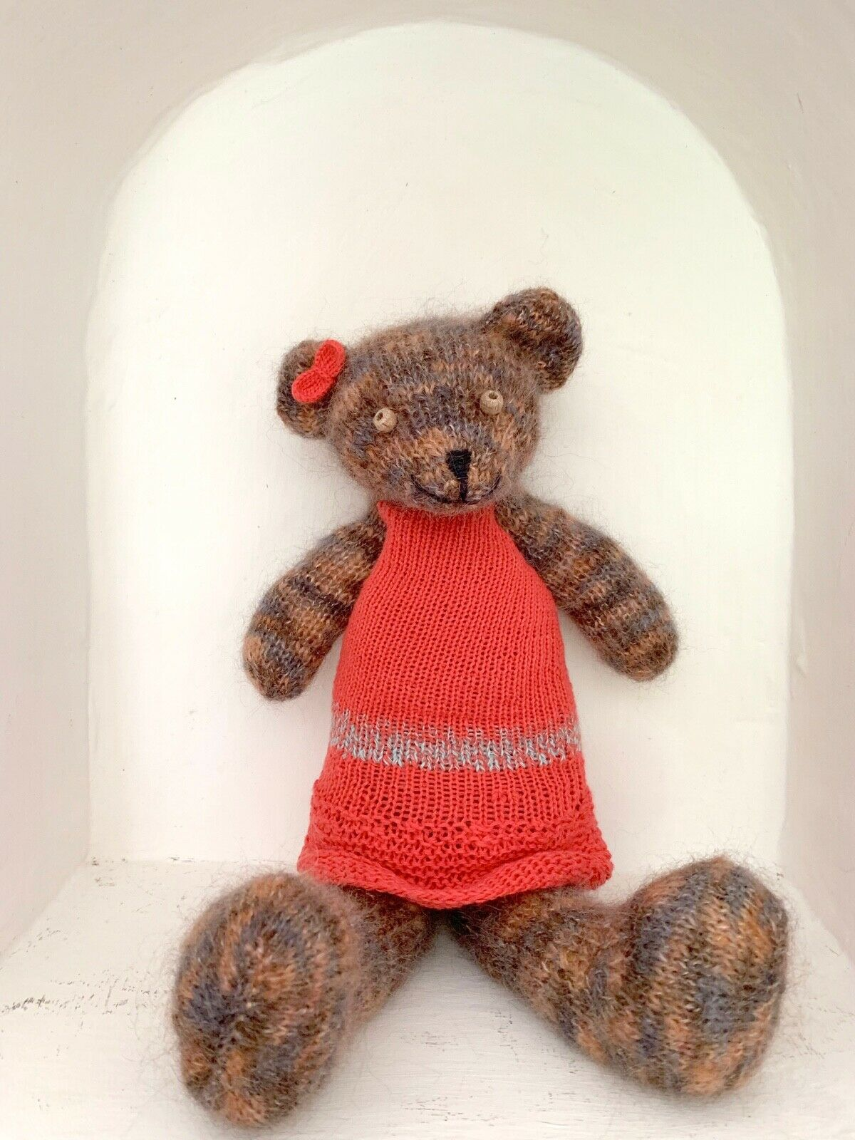 Knitted bear girl toy sweet hand knitted teddy doll in rosso dress bear soft toy