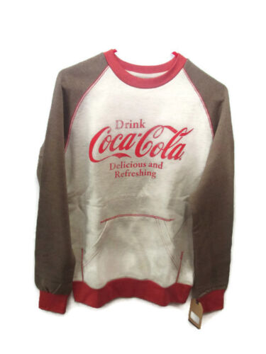 Coca-Cola Kangaroo-Pocket Sweatshirt Rust and Oatmeal  Large BRAND NEW