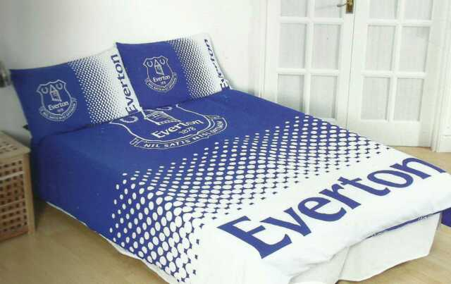 NEW EVERTON FOOTBALL CLUB FADE DOUBLE DUVET QUILT COVER SET BOYS KID BEDROOM