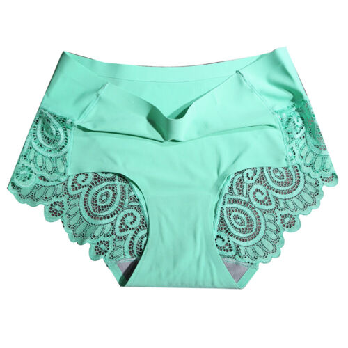 Women Hollow Out Lace Flower Briefs Solid Color Panties Seamless Underwear SUPER
