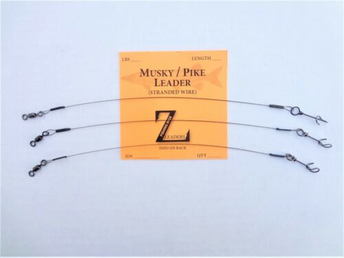 FASTACH EZ CLIP 3-Pack CRANE SWIVEL MUSKY // PIKE STRANDED WIRE LEADERS