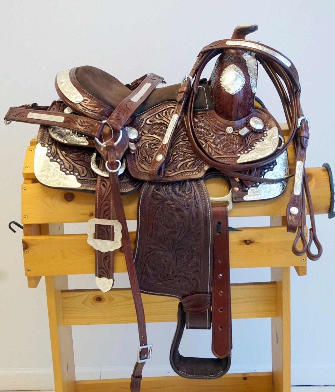 Aceite oscuro labrada de Cuero Sillín de la Juventud Pony Western Show Set 10  12  14.5