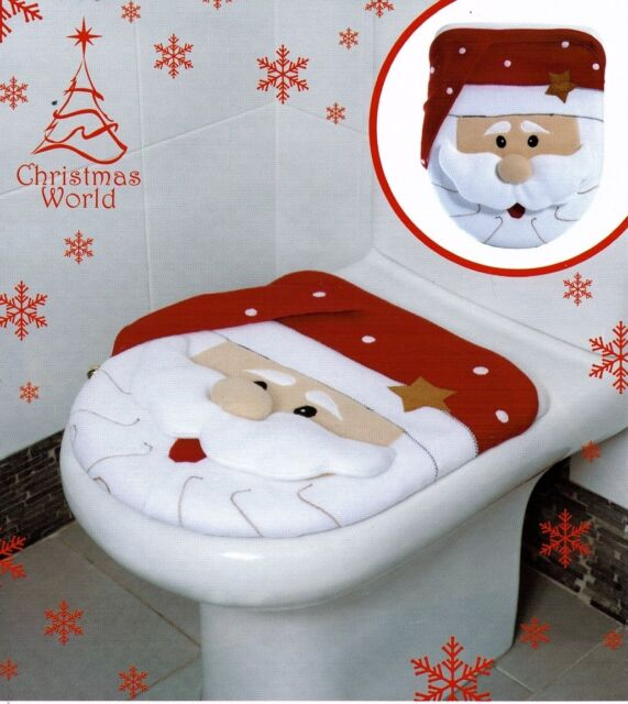 CHRISTMAS SANTA CLAUSE NOVELTY FESTIVE BATHROOM TOILET SEAT COVER DECORATION NEW