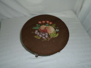 Vintage Round Fruit Footstool Ottoman Stool Yarn Needlepoint Wood Feet Pastels