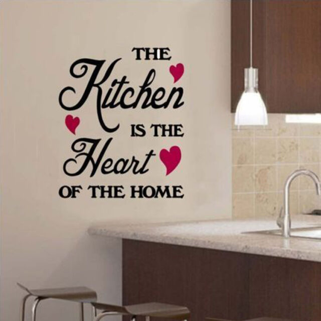 Chic The Kitchen Is The Heart Of The Home Wall Sticker -Art Decor Kitchen Decal