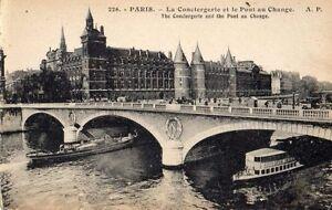 ANTIQUE POSTCARD PARIS PONT AU CHANGE BRIDGE