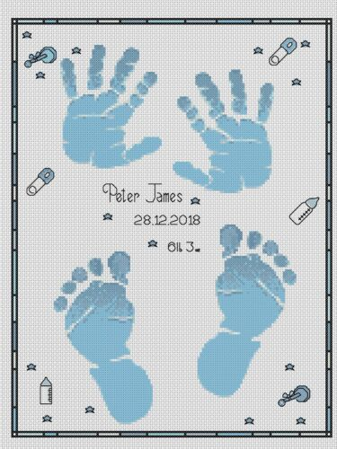 PDF cross stitch chart-Nuovo Bambino Nascita campionatore mani e piedi Flowerpower 37-uk