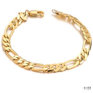 Moda-Para-hombres-Cadenilla-Enlace-pulsera-de-oro-plateado