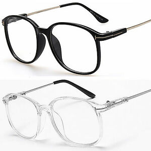775ab271a0 Large Oval Round Clear Lens Fashion Glasses Slim Frame Mens Women s ...