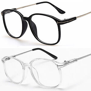 64eb96d5d5 Large Oval Round Clear Lens Fashion Glasses Slim Frame Mens Women s ...