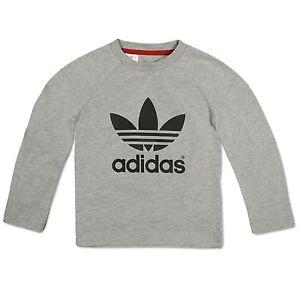 first look check out release info on Détails sur Adidas Originals Trefoil Logo T-Shirt Enfants Shirt à Manches  Longues à Gris 98