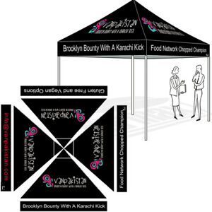 Custom LOGO Printed 10X10 Top For Outdoor EZ Pop Up Gazebo Tent Instant Canopy