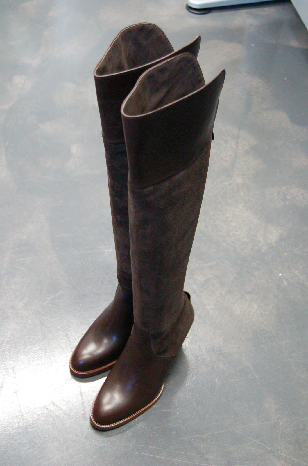STIVALE femmes -37-WOMAN démarrage- VITELLO+CAMOSCIO marron-CALF+SUEDE marron-LTH SOLE