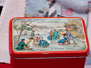 Antique Tin Box Winter  1900's * A Winter Frolic * Times Gone Buy and Missed