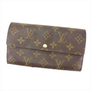 Louis-Vuitton-Wallet-Purse-Monogram-Brown-Woman-Authentic-Used-C452