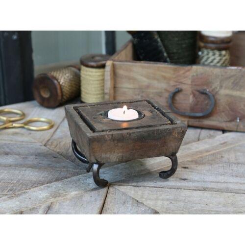 Chic Antique Teelichthalter Grimaud alte Druckplatte Holz Shabby Nostalgie