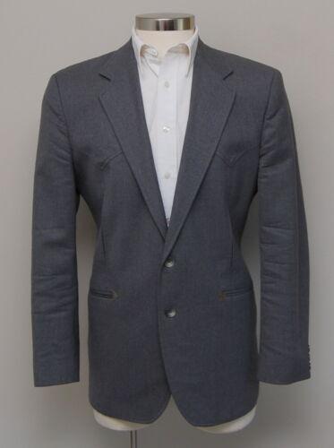 Vintage Mens 42R Kenny Rogers Grey Wool Western Bl