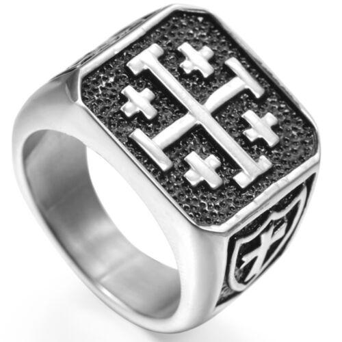 Jerusalem Cross Ring Crusaders Jesus Christ Medieval Knight Templar Middle Age