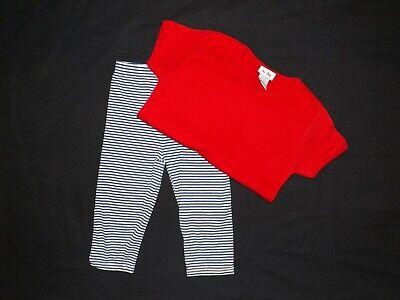 Le Top Little Girls Run Christmas Reindeer Striped Shirt Skirted Legging Set New