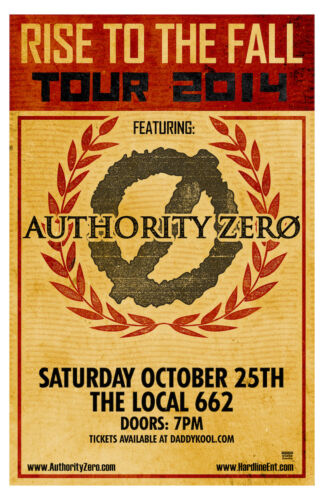 Authority Zero Concert Poster Rise To The Fall Tour 2014 11 x 17 #