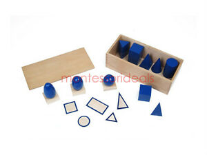 New  Montessori Geometric Solids With Stands, Bases, and Box