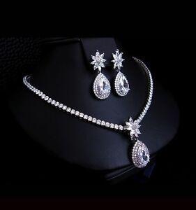 18k-White-Gold-GP-Necklace-Earrings-Set-made-w-Swarovski-Crystal-Bridal-Jewelry