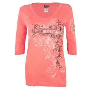 Black-Hills-Harley-Davidson-Women-039-s-Flourish-Shine-3-4-Sleeve-T-Shirt