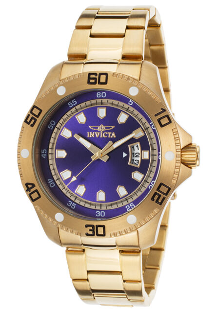 Invicta 19266 Men's Pro Diver 18K Gold Plated Steel Blue Dial