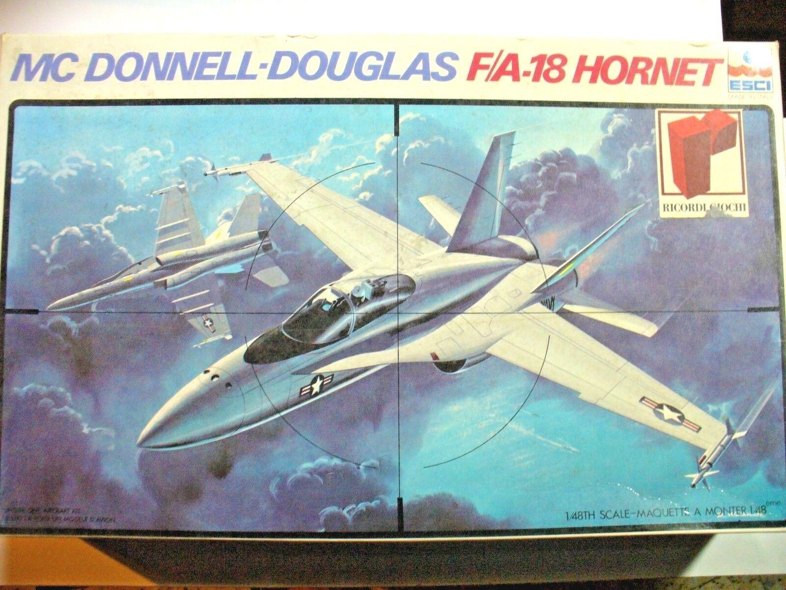 F A 18 HORNET Mc Donnel-Douglas 1 48 ESCI ESCI ESCI scatola 37x23x7 cm 9be93e