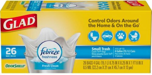 26-Count Resin Small White Garbage Fresh Clean Odor Shield Bags Glad 4 Gal