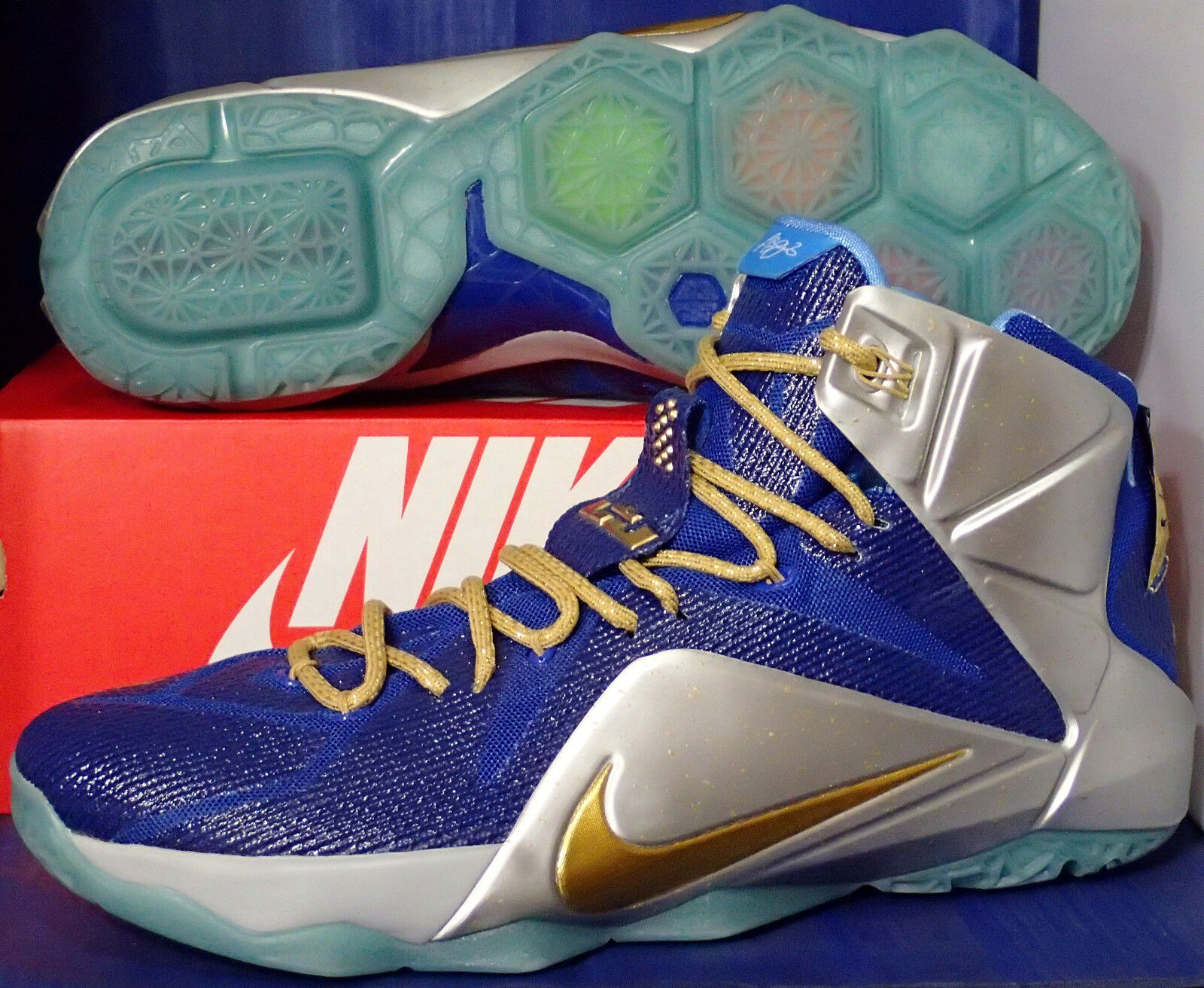 nike lebron xii or 12 id bleu argent or xii sz 14 (728709-982) 7715f5